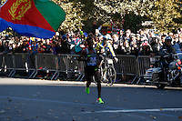 NEW YORK, NY - NOVEMBER 6 ,2016. Ghirmay Ghebreslassie of Eritrea runs before he wins the TCS NYC Marathon men's race in New York November 06, 2016 (Photo by Kena Betancur/VIEWpress)