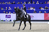 OMAHA, NEBRASKA - MAR 30: Maria Florencia Manfredi rides Bandurria Kacero during the FEI World Cup Dressage Final II at the CenturyLink Center on April 1, 2017 in Omaha, Nebraska. (Photo by Taylor Pence/Eclipse Sportswire/Getty Images)