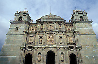 Baroque style facade of the Oaxaca cathedral in the city of Oaxaca, Mexico