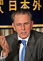 July 14th, 2011, Tokyo, Japan - Jacques Rogge, president of the International Olympic Committee, speaks during a news conference at the foreign press club in Tokyo on Thursday, July 14, 2011. The IOC chief was in town to participate in the 100th anniversary celebrations of the Japanese Olympic Committee as well as in events to cheer up victims of the March 11 earthquake, tsunami and the ongoing Fukushima nuclear crisis. (Photo by Natsuki Sakai/AFLO) [3615] -mis-