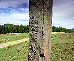 "Maen Madoc, Nr Ystradfellte, Powys Wales. Celtic Britain published by Orion. 11 foot tall monolith inscribed in Latin ""Dervaci Filius ivsti ic iacti which translates as ""Dervacus the son of Justus here he lies."""