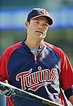 29 September 2012: Minnesota Twins infielder Jamey Carroll awaits his turn in the batting cage prior to a game against the Detroit Tigers at Target Field in Minneapolis, MN. The Tigers defeated the Twins 6-4 in the second game of their 3-game series. Mandatory Credit: Ed Wolfstein Photo