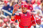 26 May 2013: Washington Nationals catcher Jhonatan Solano in action against the Philadelphia Phillies at Nationals Park in Washington, DC. The Nationals defeated the Phillies 6-1 to take the rubber game of their 3-game weekend series. Mandatory Credit: Ed Wolfstein Photo *** RAW (NEF) Image File Available ***
