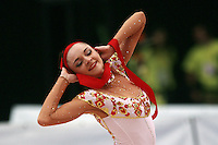 Anna Bessonova of Ukraine performs with ribbon (finishing pose as gypsy) at 2008 Portimao World Cup of Rhythmic Gymnastics on April 19, 2008.  Photo by Tom Theobald.