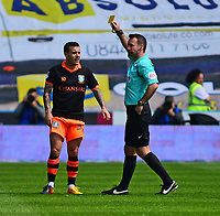 Sheffield Wednesday's Ross Wallace is shown a yellow card by referee Paul Tierney<br /> <br /> Photographer Andrew Vaughan/CameraSport<br /> <br /> The EFL Sky Bet Championship Play-Off Semi Final First Leg - Huddersfield Town v Sheffield Wednesday - Saturday 13th May 2017 - The John Smith's Stadium - Huddersfield<br /> <br /> World Copyright &copy; 2017 CameraSport. All rights reserved. 43 Linden Ave. Countesthorpe. Leicester. England. LE8 5PG - Tel: +44 (0) 116 277 4147 - admin@camerasport.com - www.camerasport.com