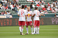NY RedBulls midfielder Joel Lindpere (20)psychs up his teammates. Chivas USA defeated the Red Bulls of New York 2-0 at Home Depot Center stadium in Carson, California April 10, 2010.  .