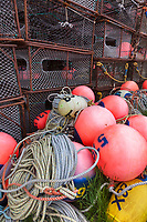 Crab pots and buoys used in commercial fishing, Kodiak Island, Alaska.