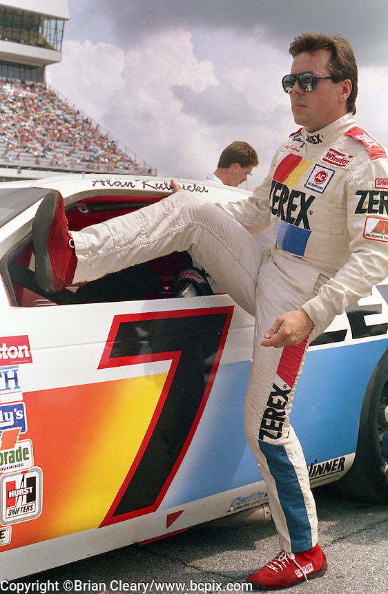 Alan Kulwicki climbs into car qualifying Pepsi 400 at Daytona International Speedway in Daytona beach, FL on July 1, 1989. (Photo by Brian Cleary/www.bcpix.com)