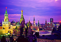 Savior Tower (l) and St. Basil's Cathedral (center), Red Square, Moscow, Russia