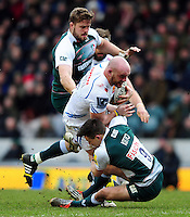 Jack Yeandle of Exeter Chiefs takes on the Leicester Tigers defence. Aviva Premiership match, between Leicester Tigers and Exeter Chiefs on March 6, 2016 at Welford Road in Leicester, England. Photo by: Patrick Khachfe / JMP
