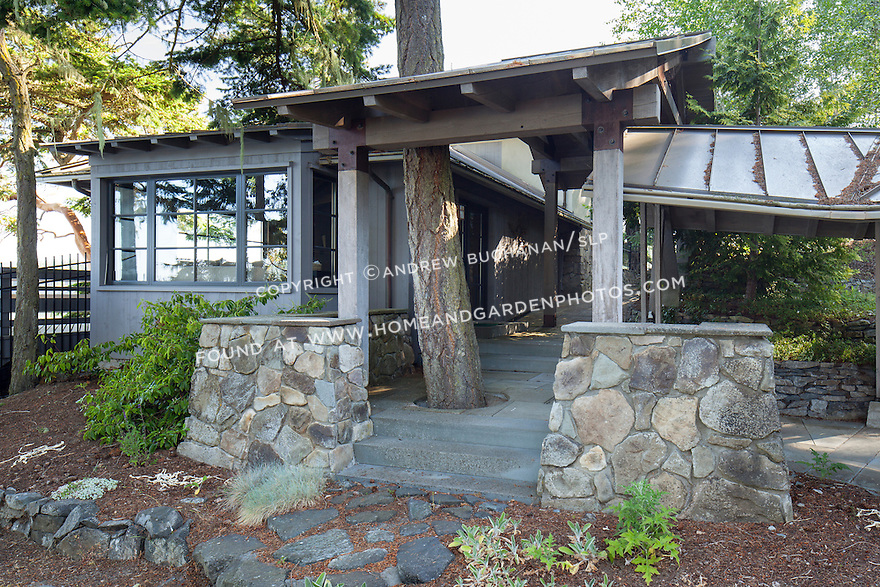 Exterior photo of home on remote Shaw Island This image is available through an alternate architectural stock image agency, Collinstock located here: http://www.collinstock.com
