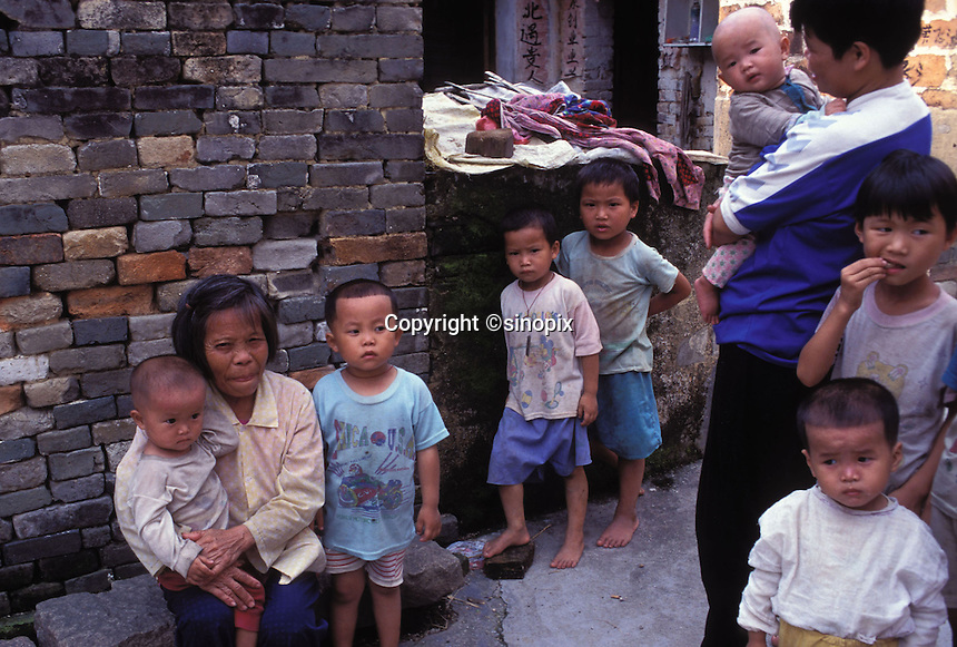Young boys outnumber girls in a village in Guanagdong Province, South China. An average gender inbalance 118 males to 100 females caused by the Chinese Governments One Child Policy and the preference for boys means that there is a shortage of women in China.