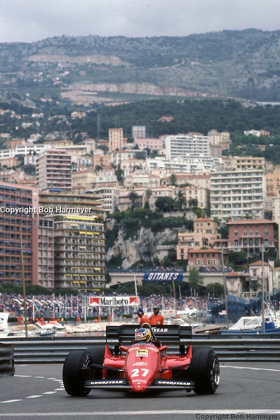 MONTE CARLO - JUNE 3: Michele Alboreto drives his Ferrari F126C4 076/Ferrari 031 through La Rasscasse hairpin corner during practice for the Monaco Grand Prix on June 3, 1984, at the Circuit de Monaco in Monte Carlo, Monaco.