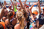 GULF SHORES, AL - MAY 07: The Pepperdine University team celebrates their semifinal victory during the Division I Women's Beach Volleyball Championship held at Gulf Place on May 7, 2017 in Gulf Shores, Alabama.Pepperdine defeated Hawaii 3-0 to advance to the championship game.  (Photo by Stephen Nowland/NCAA Photos via Getty Images)