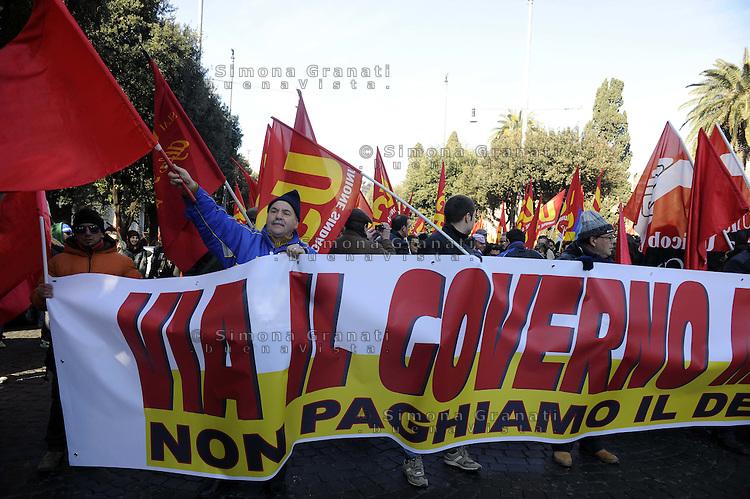 Roma, 27 Gennaio 2012.Sciopero con corteo contro il Governo Monti organizzato dai sindacati autonomi, , Unione Sindacale di Base.