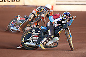 Heat 3 re-run: J Davidsson (blue) and Klindt - Lakeside Hammers vs Wolverhampton Wolves - Sky Sports Elite League Speedway at Arena Essex Raceway, Purfleet - 24/05/10 - MANDATORY CREDIT: Gavin Ellis/TGSPHOTO - Self billing applies where appropriate - Tel: 0845 094 6026