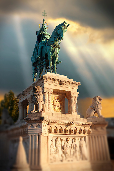 Statue of King Istvan ( Stephan ) - Fisherman's Bastion - Castle District, Budapest, Hungary