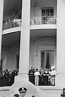 Washington, DC. August 9th, 1974.<br /> White House staff says goodbye watching the Nixon family leaving on the helicopter from the second and third floor balcony. (Chef Henry Haller in chef's hat) The White House staff are A break in at the Democratic National Committee headquarters at the Watergate complex on June 17, 1972 results in one of the biggest political scandals the US government has ever seen. Effects of the scandal ultimately led to the resignation of  President Richard Nixon, on August 9, 1974, the first and only resignation of any U.S. President.
