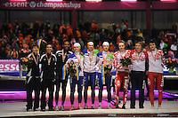 SCHAATSEN: HEERENVEEN: Thialf, Essent ISU World Single Distances Championships 2012, 25-03-2012, Podium Team Pursuit Men, Brian Hansen (USA), Jonathan Kuck (USA), Shani Davis (USA), Koen Verweij (NED), Sven Kramer (NED), Jan Blokhuijsen (NED), Yevgeny Lalenkov (RUS), Ivan Skobrev (RUS), Denis Yuskov (RUS), ©foto Martin de Jong
