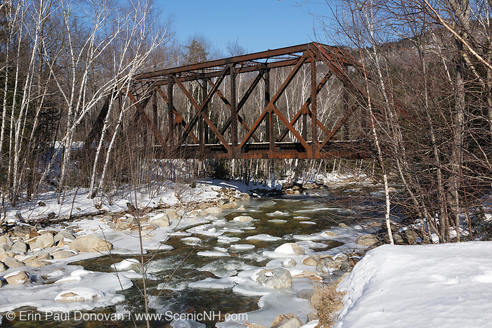 Crawford Notch State Park - Forth Iron Bridge along the Maine Central Railroad in the White Mountains, New Hampshire USA. This bridge crosses the Sawyer River. And since 1995 the Conway Scenic Railroad, which provides passenger excursion trains has been using the track.