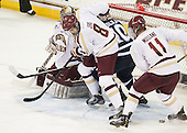 Travis Jeke (BC - 8), Dalton Speelman (UNH - 10), Pat Mullane (BC - 11) - The Boston College Eagles and University of New Hampshire Wildcats tied 4-4 on Sunday, February 17, 2013, at Kelley Rink in Conte Forum in Chestnut Hill, Massachusetts.