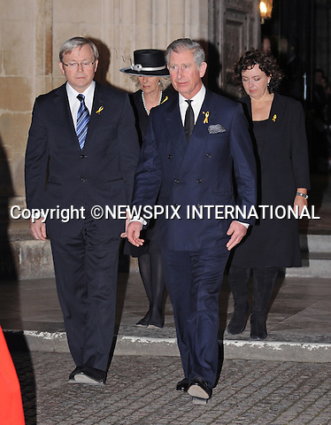 """PRINCE CHARLES AND CAMILLA, DUCHESS OF CORNWALL.attended a memorial service at Westminster Abbey to remember the victims and support the survivors of the bushfires that ravaged the Australian State of Victoria last month..After the service Prince of Wales and The Prime Minster of Australia Kevin Rudd lay Australian flowers outside the West Door. The flowers represented the 210 people who died in the bushfires..Camilla, made her first public appearance since being diagonised as suffering with bronchitis_31/03/09.Mandatory Credit Photo: ©DIAS-NEWSPIX INTERNATIONAL..Please telephone : +441279324672 for usage fees..**ALL FEES PAYABLE TO: """"NEWSPIX INTERNATIONAL""""**..IMMEDIATE CONFIRMATION OF USAGE REQUIRED:.Newspix International, 31 Chinnery Hill, Bishop's Stortford, ENGLAND CM23 3PS.Tel:+441279 324672  ; Fax: +441279656877.Mobile:  07775681153.e-mail: info@newspixinternational.co.uk"""