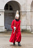 Horse guard outside Horse Guards Parade, London, England