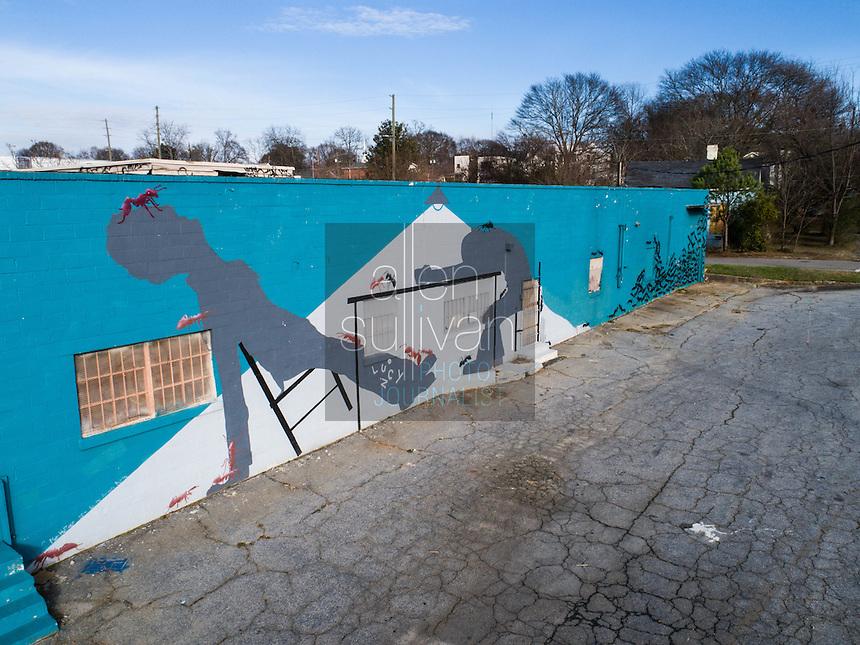 The 'ant' building at 930 Maudlin Street in the Reynoldstown neighborhood of Atlanta, Georgia.
