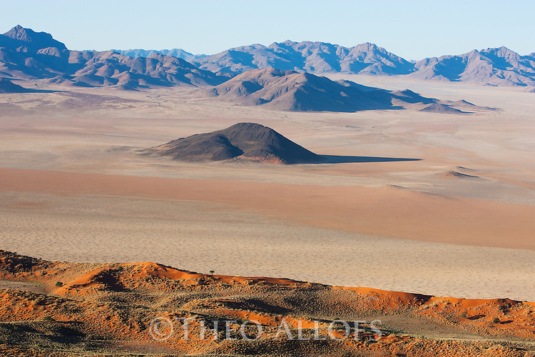 Namibia, Namib Desert, Namibrand Nature Reserve, aerial of eastern part of Namib Desert