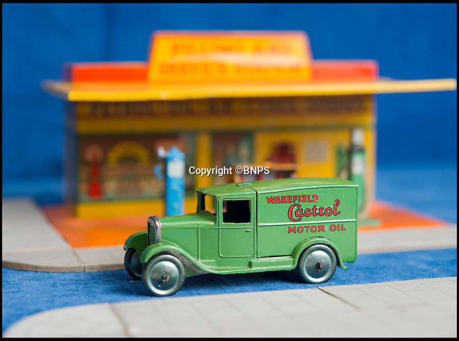 BNPS.co.uk (01202 558833)<br /> Pic: PhilYeomans/BNPS<br /> <br /> Wakefield Castrol motor oil.<br /> <br /> Dinky dynamite...<br /> <br /> The 'Holy grail' of Dinky car collectors are being sold  at SAS auctions in Newbury - and at &pound;15,000 a set they cost more than the real vans would have back in the day.<br /> <br /> The first two delivery van sets, made in 1933, contain six vans in each -  and amazingly most of the brands are still going strong today, over 80 years later. <br /> <br /> Second ever Dinky van set: Crawfords biscuits, Castrol, Marsh sausages, Meccano, Kodak film and Sharpes toffee.