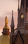 Statue of The Blessed Virgin Mary atop the Main Building and the Basilica of the Sacred Heart, University of Notre Dame.