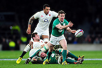 Eoin Reddan of Ireland passes the ball. RBS Six Nations match between England and Ireland on February 27, 2016 at Twickenham Stadium in London, England. Photo by: Patrick Khachfe / Onside Images