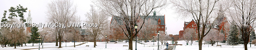 Panorama of University Row, Ira Allen Chapel, Billings Library, Williams Building, Old Mill, and the UVM Campus Green. Winter UVM Campus