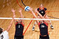 SAN ANTONIO, TX - SEPTEMBER 27, 2008: The Texas State University Bobcats vs. The University of Texas at San Antonio Roadrunners Volleyball at the UTSA Convocation Center. (Photo by Jeff Huehn)
