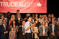 The Leader of the Liberal Party of Canada, Justin Trudeau, attend a community social in Saint-Leonard., Friday, August 28, 2015 at<br /> Leonardo da Vinci Centre <br /> 8370 Lacordaire Boulevard<br /> Saint-L&eacute;onard, Quebec<br /> <br /> <br /> <br /> <br /> Photo : AQP - Philippe Manh Nguyen