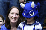 26 November 2014:  A young Duke fan with his mother. The Duke University Blue Devils hosted the Furman University Paladins at Cameron Indoor Stadium in Durham, North Carolina in a 2014-16 NCAA Men's Basketball Division I game. Duke won the game 93-54.