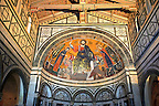 The medieval mosaic of Christ between the Virgin and St Minias (1260). .San Miniato al Monte (St. Minias on the Mountain) basilica , Florence, Italy.
