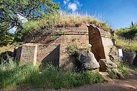 Etruscan circular Tumulus Tomb known as the Tomba Capitelli, 6th century BC, Necropoli della Banditaccia, Cerveteri, Italy. A UNESCO World Heritage Site