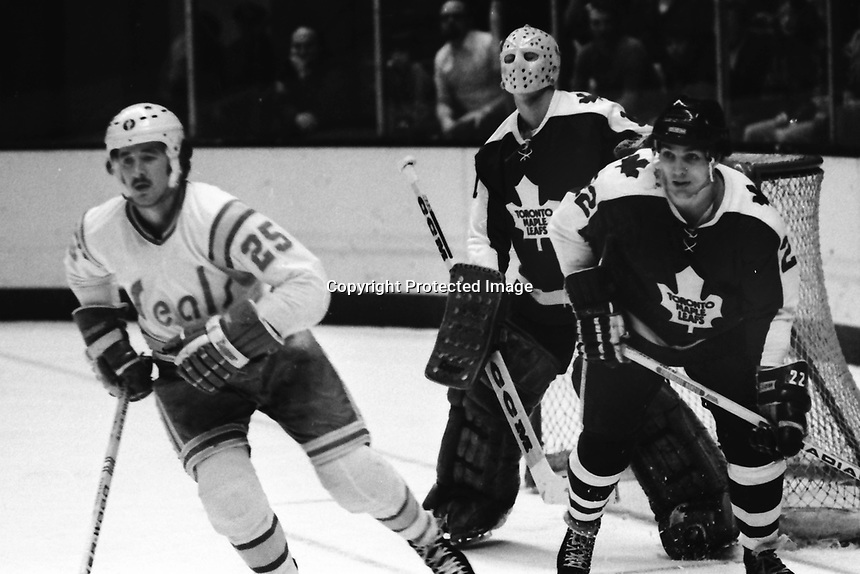 "Seals vs Toronto Maple Leaf 1975, Seal Al MacAdam and Leafs Dave ""Tiger"" Williams, and goalie Gord McRae. (photo by Ron Riesterer)"