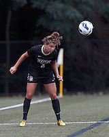 University of Central Florida forward/midfielder Kristina Trujic (6) heads the ball. After two overtime periods, Boston College tied University of Central Florida, 2-2, at Newton Campus Field, September 9, 2012.