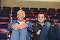SCHAATSEN: HEERENVEEN: 25-06-2014, IJsstadion Thialf, Zomerijs training, Tjaart Kloosterboer (algemeen bestuurslid KNSB), Rhian Ket, ©foto Martin de Jong