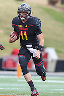 College Park, MD - November 26, 2016: Maryland Terrapins quarterback Perry Hills (11) in action during game between Rutgers and Maryland at  Capital One Field at Maryland Stadium in College Park, MD.  (Photo by Elliott Brown/Media Images International)