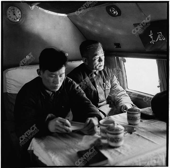 Pan Fusheng and Fan Zhengmei (right and left), director and deputy director of the Heilongjiang revolutionary committee, fly from Harbin to Beijing to report on the situation in the province. Harbin, 5 March 1967