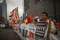 Shugden Community members and American tibetans take part in a protest regarding religious intolerance against their Buddhist community., while the Dalai Lama visits New York.  07.09.2015. Eduardo MunozAlvarez/VIEWpress.