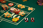 Craps table dice and chips in las Vegas Nevada, Caesars Palace and Casino, gaming, gambling, craps, craps stick, craps table, dice, die, NV, Las Vegas, Photo nv221-17973..Copyright: Lee Foster, www.fostertravel.com, 510-549-2202,lee@fostertravel.com