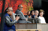 (R to L) : Former First Lady Laura Bush, former President George W. Bush, U.S President Barack Obama and First Lady Michelle Obama listen to singer Stevie Wonder  during the opening ceremony of the Smithsonian National Museum of African American History and Culture on September 24, 2016 in Washington, DC. The museum is opening thirteen years after Congress and President George W. Bush authorized its construction. <br /> Credit: Olivier Douliery / Pool via CNP / MediaPunch