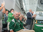 """Lead donors Robert D. and Margaret """"Peggy"""" M. Walter receive a standing ovation at the dedication of the Walter Fieldhouse. The Walter Fieldhouse is the third building on campus named in recognition of the Walter family's continued supprt for Ohio University. Photo by Ben Siegel/ Ohio University"""