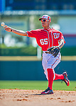28 February 2016: Washington Nationals infielder Chris Bostick warms up prior to an inter-squad pre-season Spring Training game at Space Coast Stadium in Viera, Florida. Mandatory Credit: Ed Wolfstein Photo *** RAW (NEF) Image File Available ***