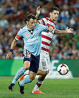 Sydney FC Alessandro Del Piero (L) and Wanderers Iacopo La Rocca  during their A-League match in Sydney, March 8, 2014. VIEWPRESS/Daniel Munoz EDITORIAL USE ONLY
