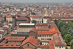 A view of Turin, Italy from the Mole Antonelliana with a view of the Royal Palace and gardens as well as the Palazzo Madama and Casaforte degli Acaja